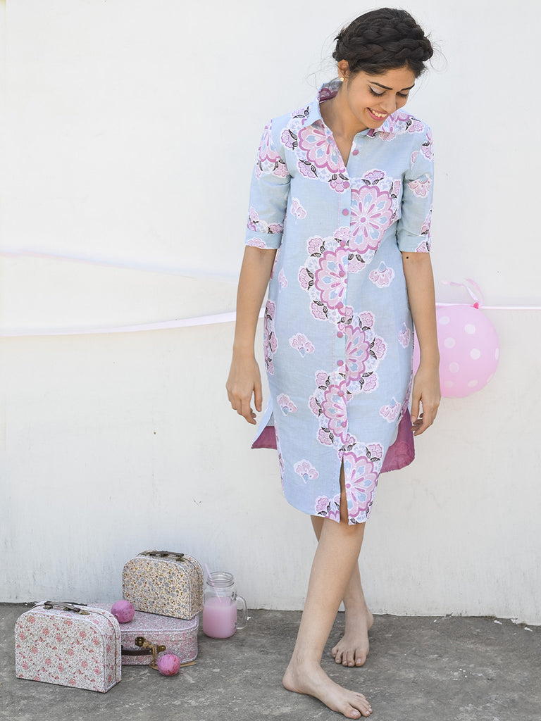 Pastel Blue Cotton Floral Print Shirt Dress