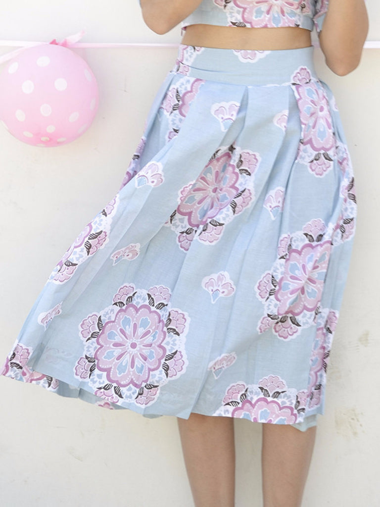Pastel Blue Cotton Floral Print Skirt