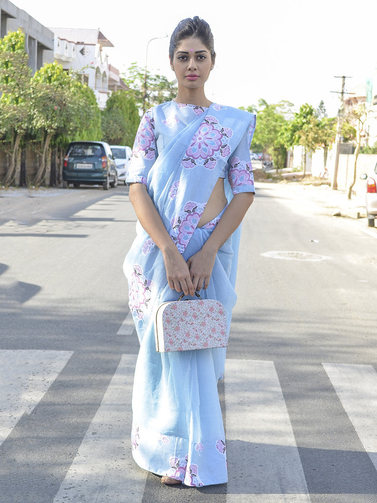 Pastel Blue Cotton Kota Doria Floral Printed Saree