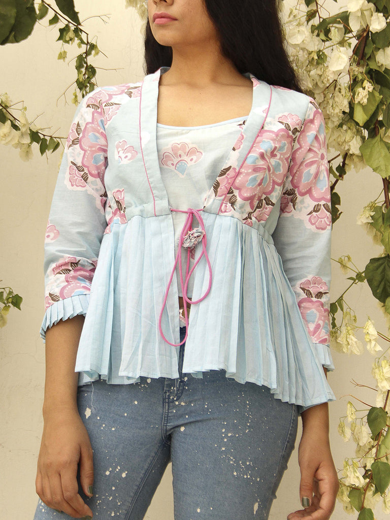 Pastel Blue Cotton Packfly Jacket