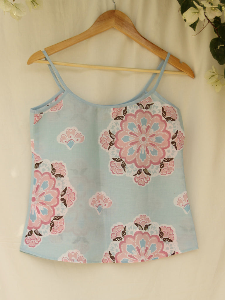 Pastel Blue Cotton Spaghetti Top