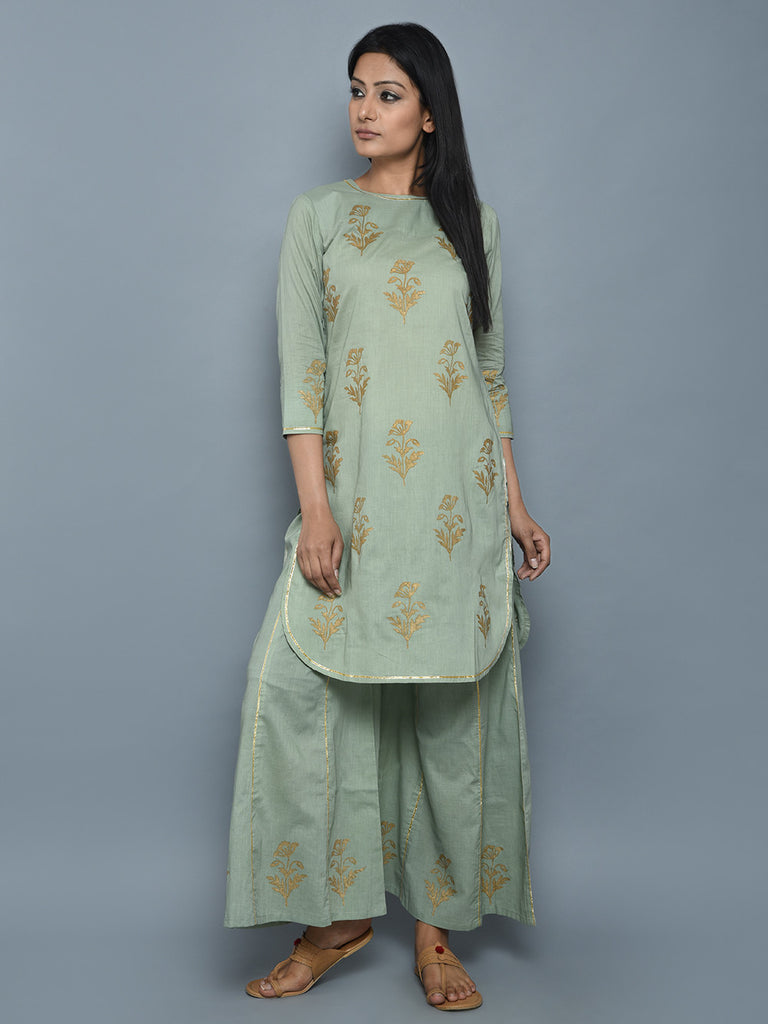 Pastel Green Hand Block Printed Cotton Kurta