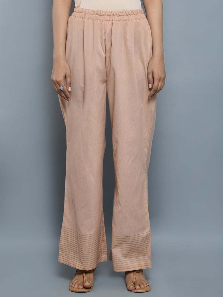 Peach Cotton Block Printed Pants