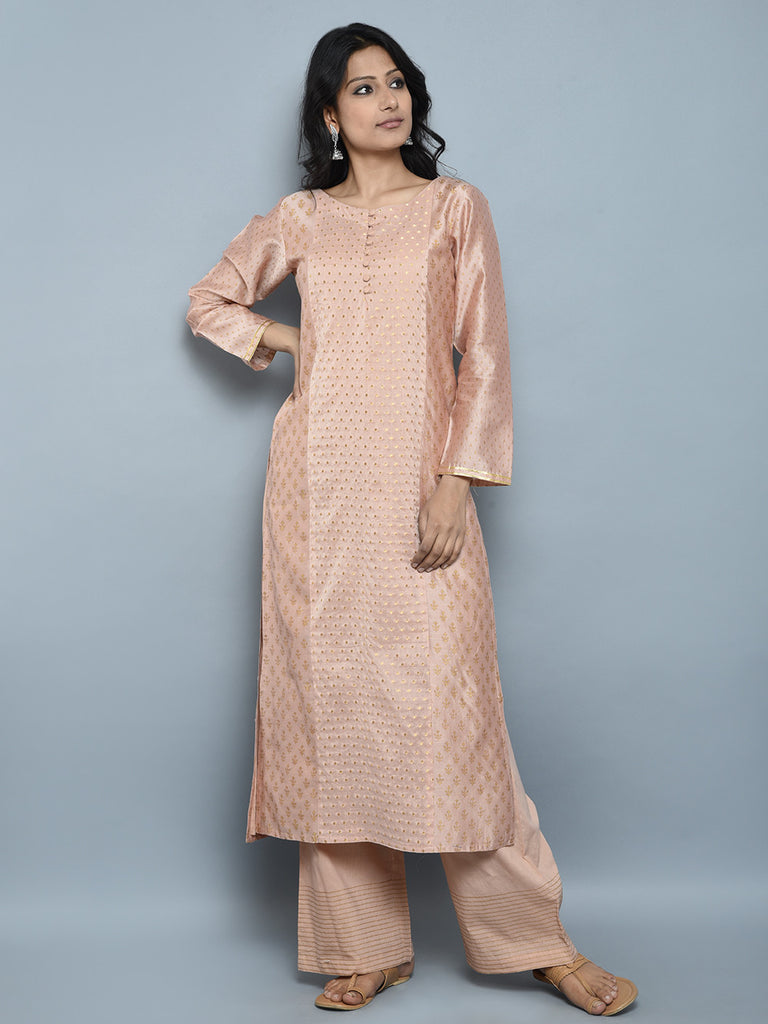 Peach Block Printed Chanderi Kurta