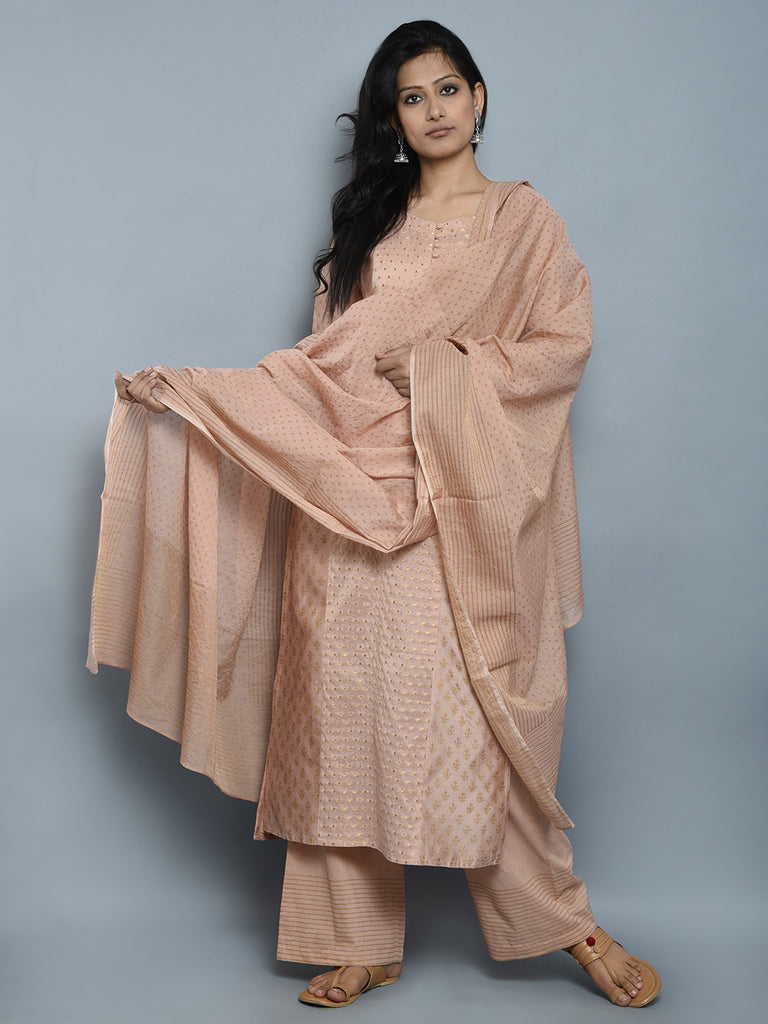 Peach Golden Block Printed Chanderi Dupatta