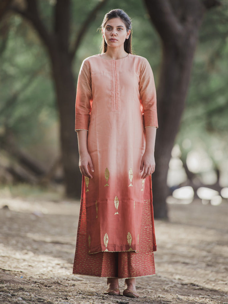 Peach Chanderi Fish Printed Kurta