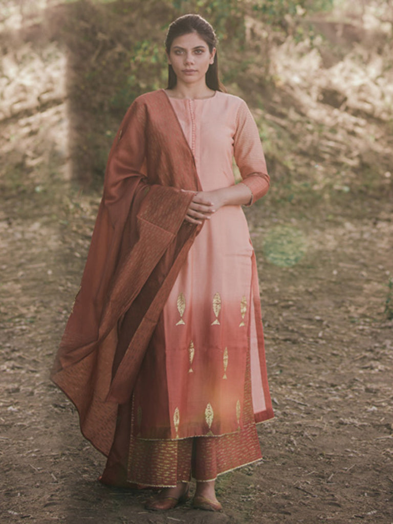 Peach Brown Ombre Chanderi Cotton Fish Printed Suit - Set of 3