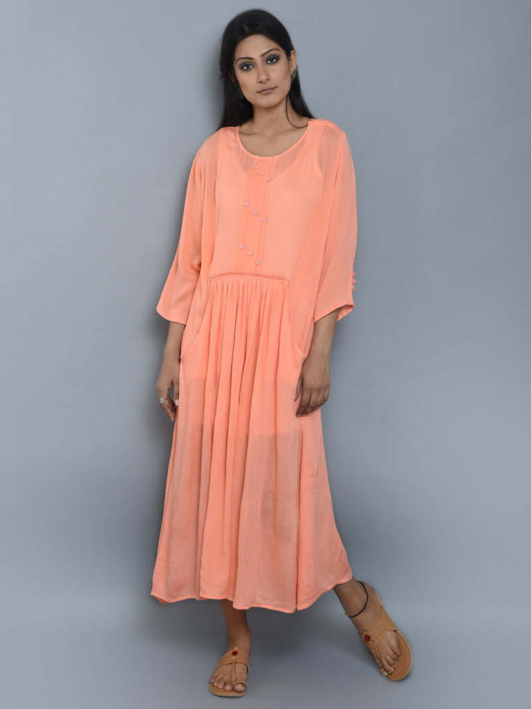 Peach Center Pleated Viscose Crepe Dress