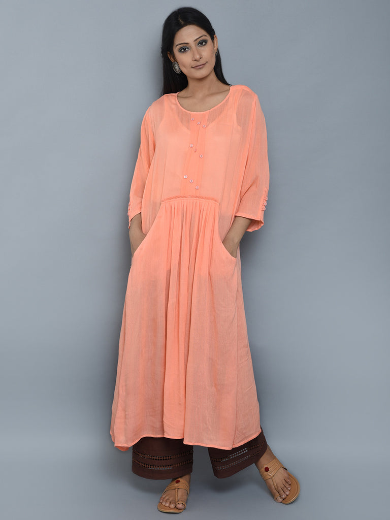 Peach Center Pleated Viscose Crepe Kurta and Brown Palazzo - Set of 2