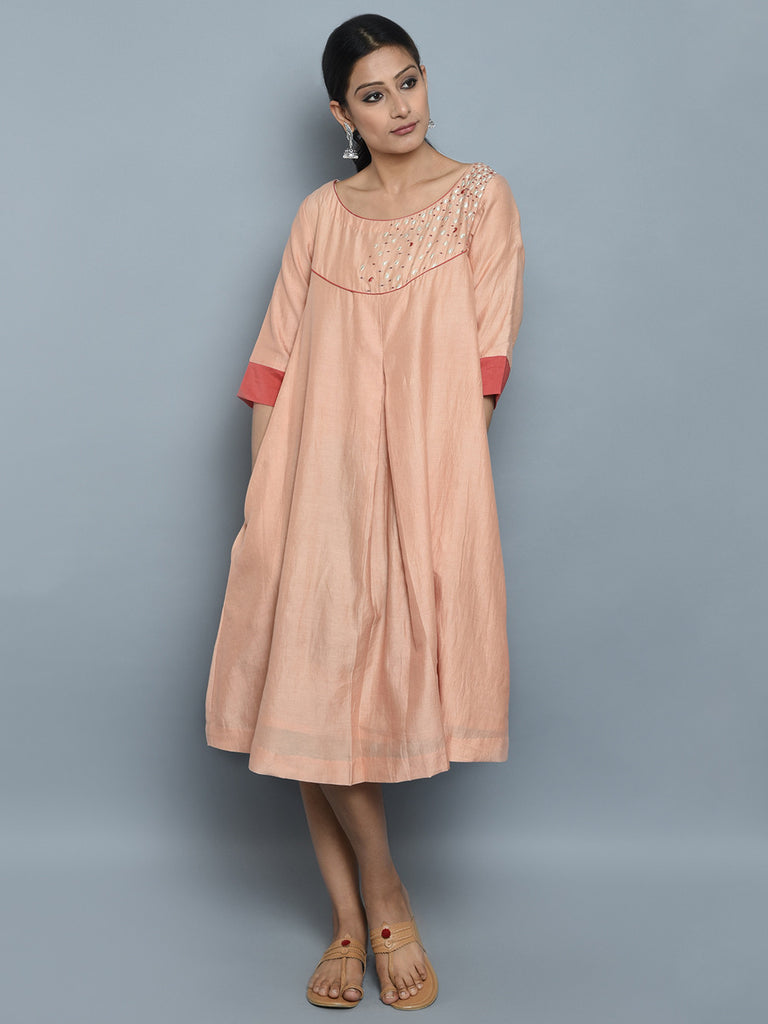 Peach Chanderi Cotton Embroidered Yoke Dress