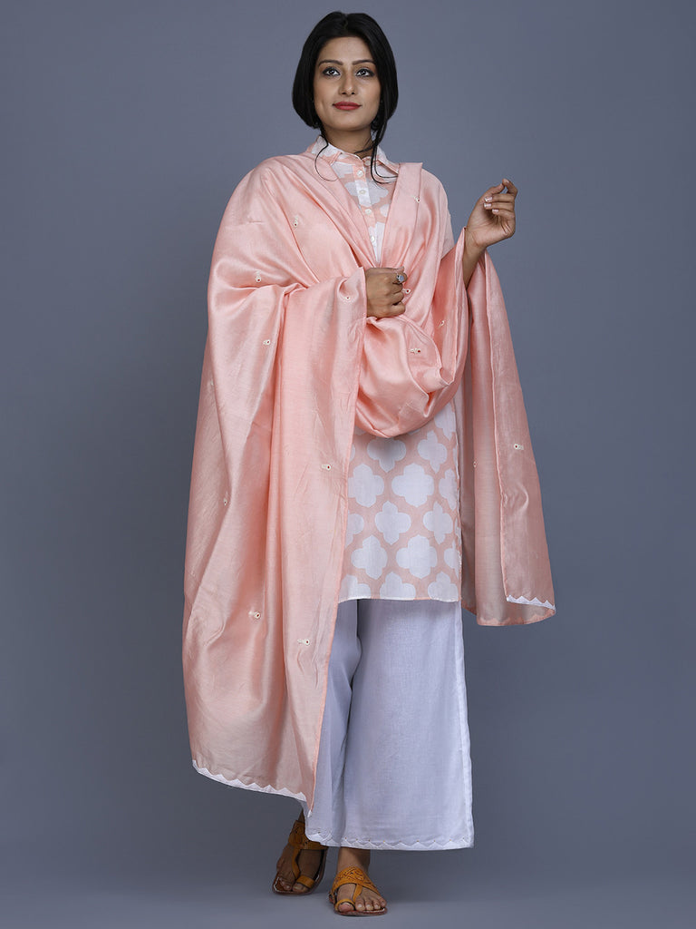 Peach Chanderi Hand worked  Dupatta