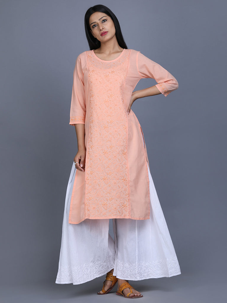 Peach Cotton Hand Embroidered Kurta