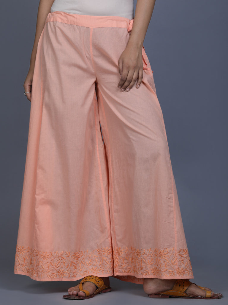 Peach Cotton Hand Embroidered Palazzo