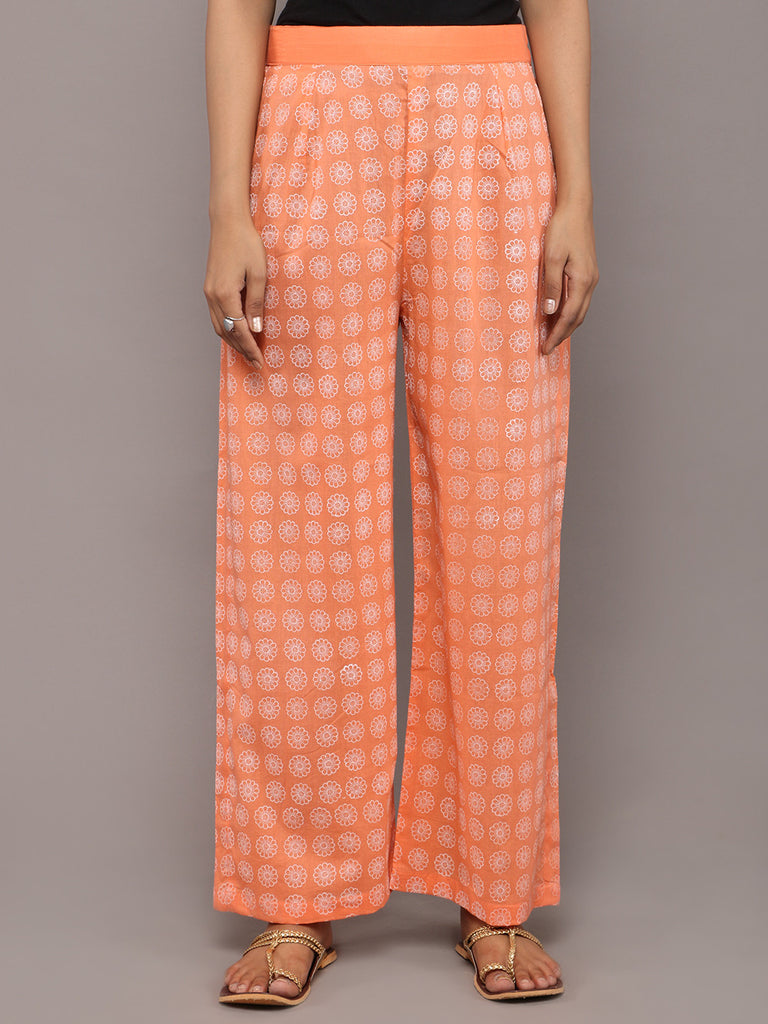 Peach Cotton Hand Block Printed Pants