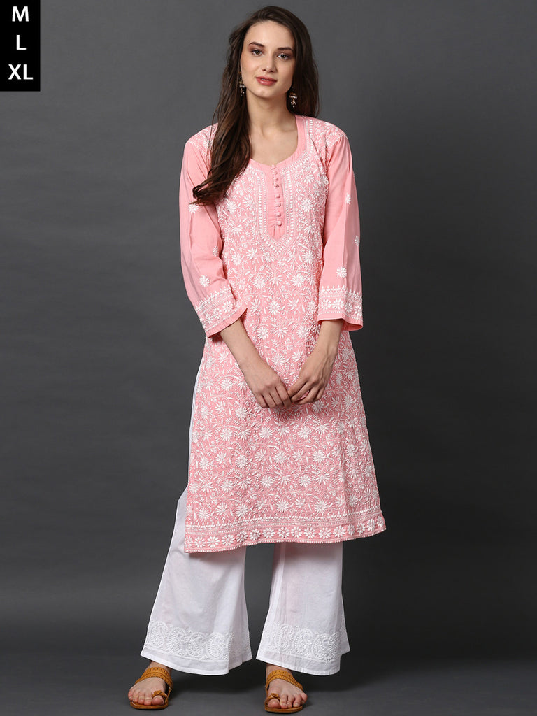 Peach Cotton Chikankari Kurta
