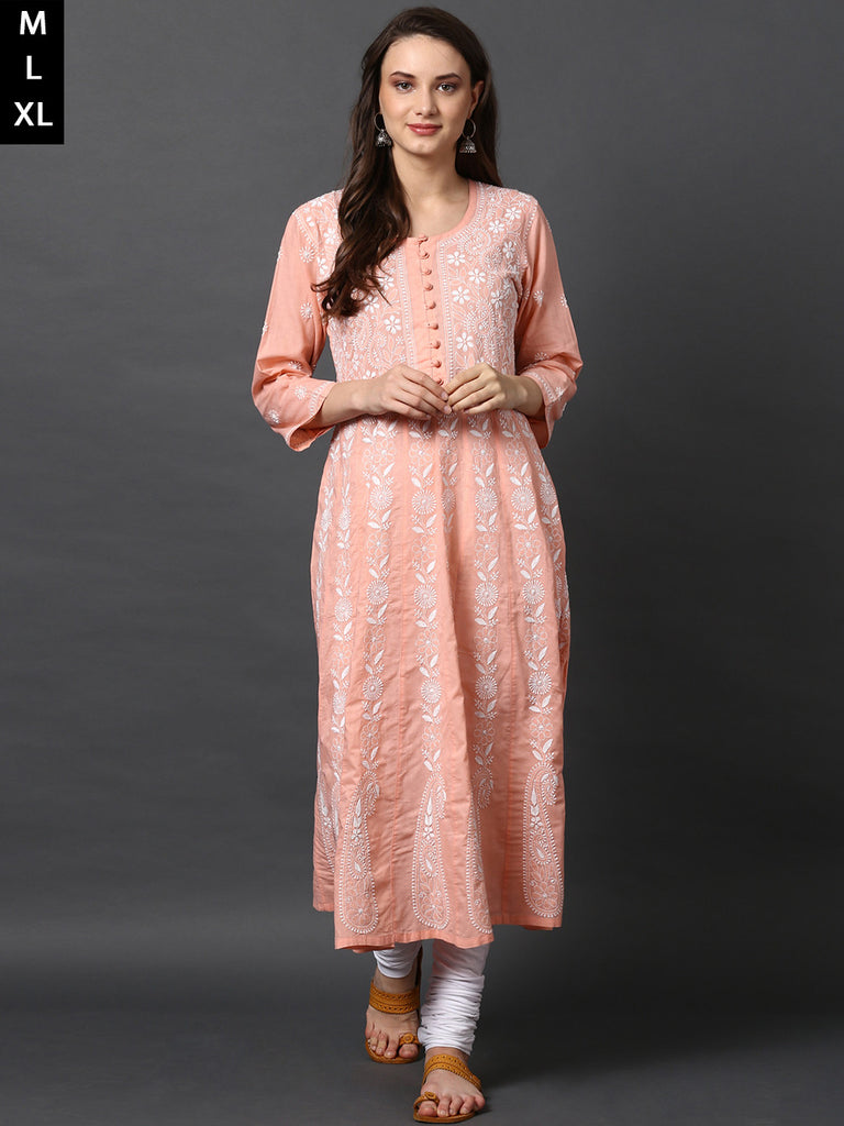 Peach Cotton Chikankari Anarkali Kurta