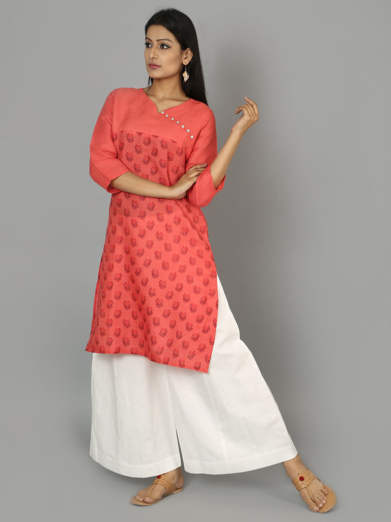 Peach Cotton Linen Kurta