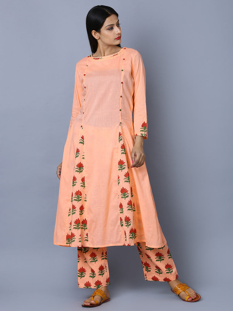 Peach Cotton Mul Block Printed Flared Kurta