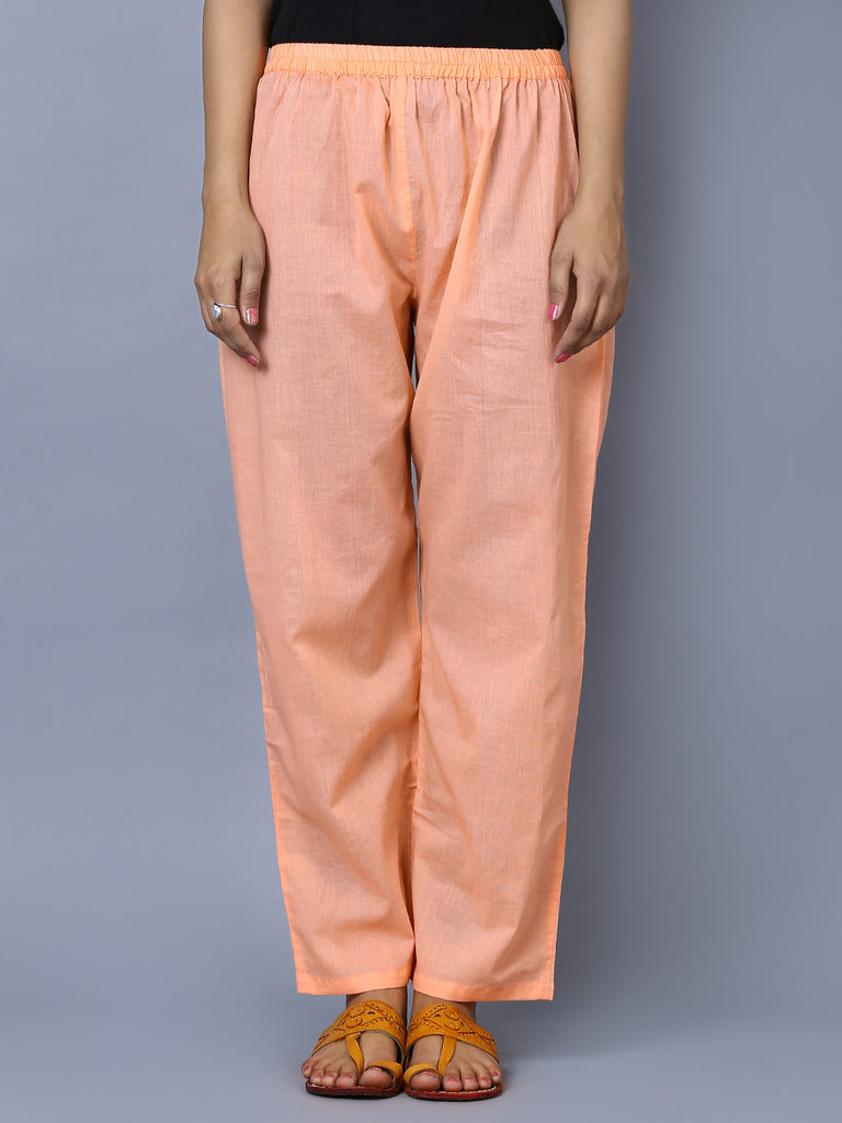 Peach Cotton Mul Double Layered Pants