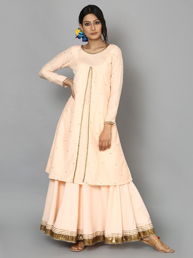 Peach Cotton Silk Kurta with Sequins