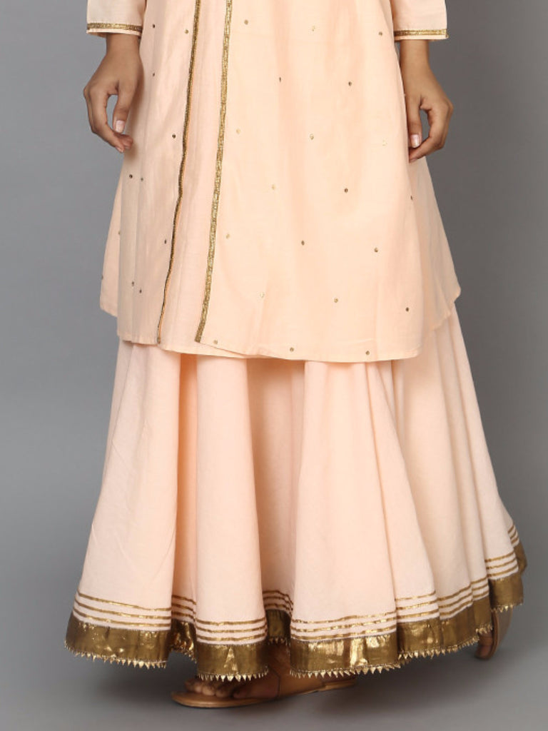 Peach Cotton Mul Lehenga Skirt
