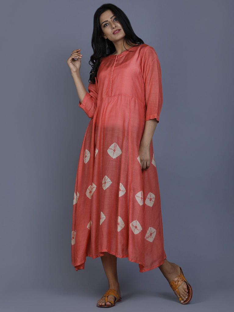 Peach Cotton Silk Bandhej Dress