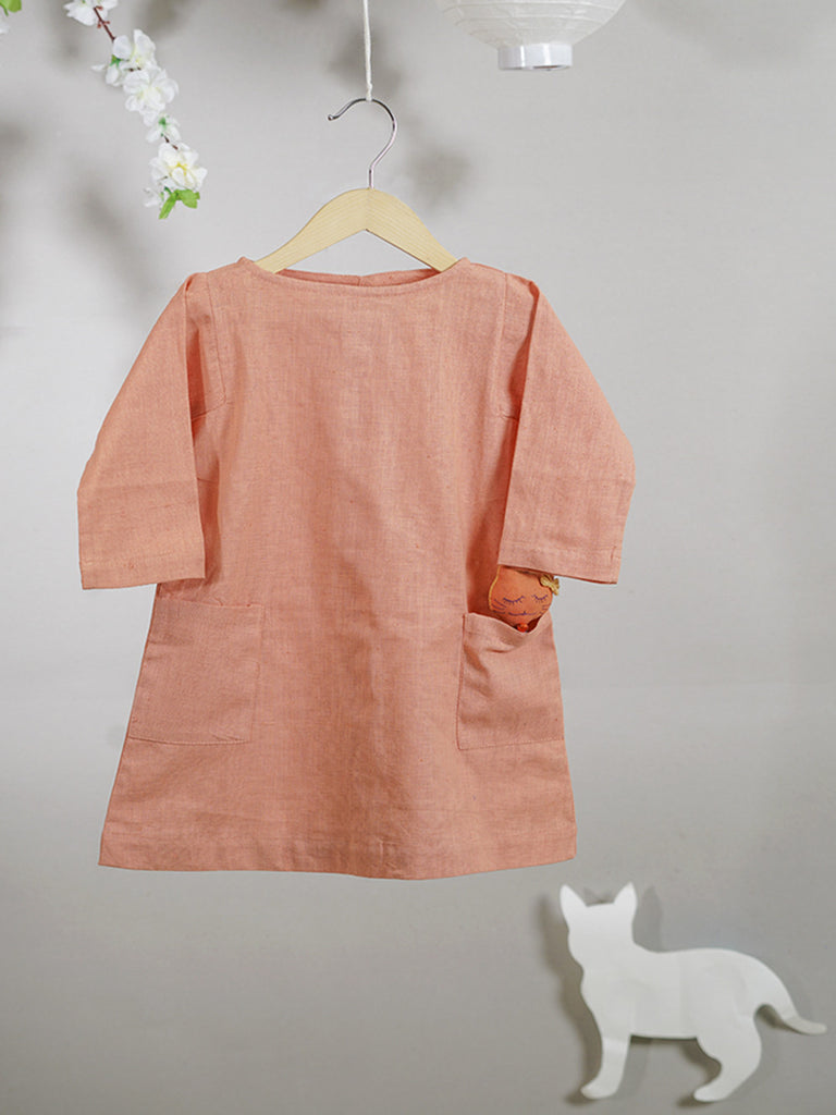 Peach Khadi Cotton Dress