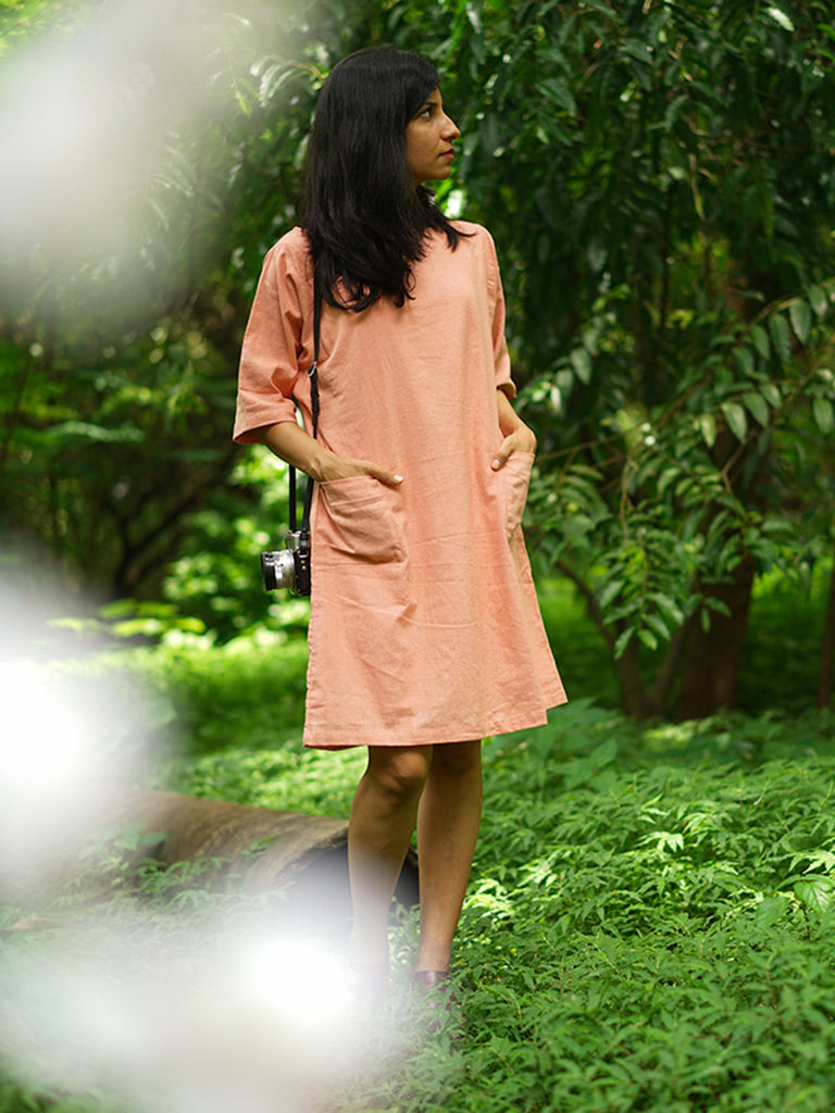Peach Khadi Cotton Tatami Dress