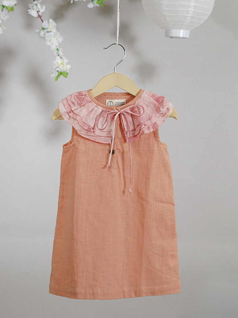 Peach Cotton Tie and Dye Dress