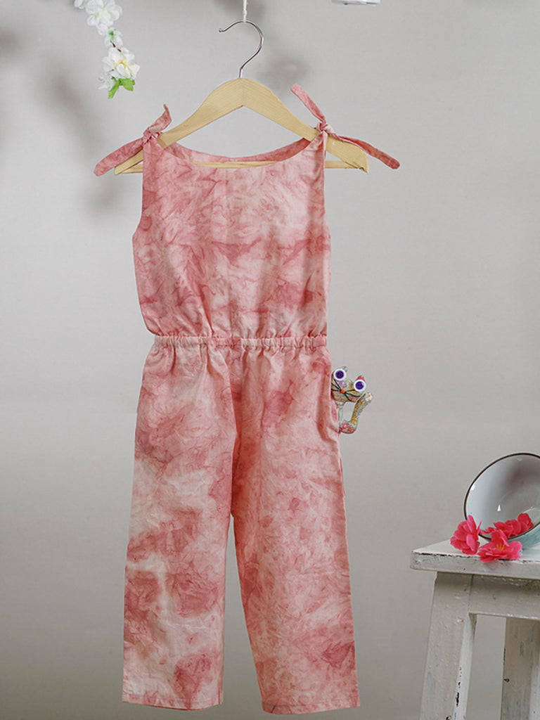 Pink Cotton Tie and Dye Jumpsuit