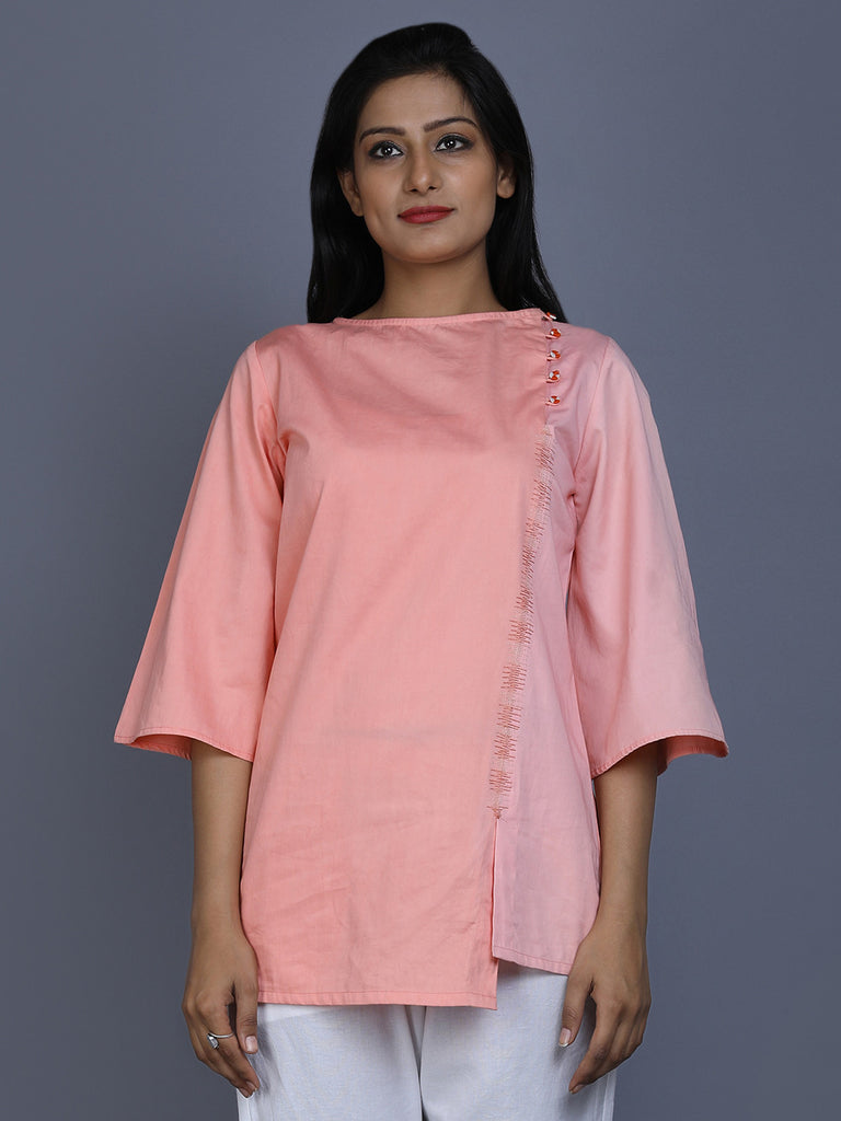 Peach Cotton Satin Bell Sleeve Top