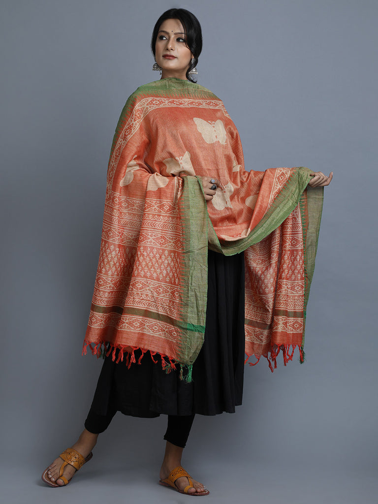 Peach Green Block Printed Silk Dupatta
