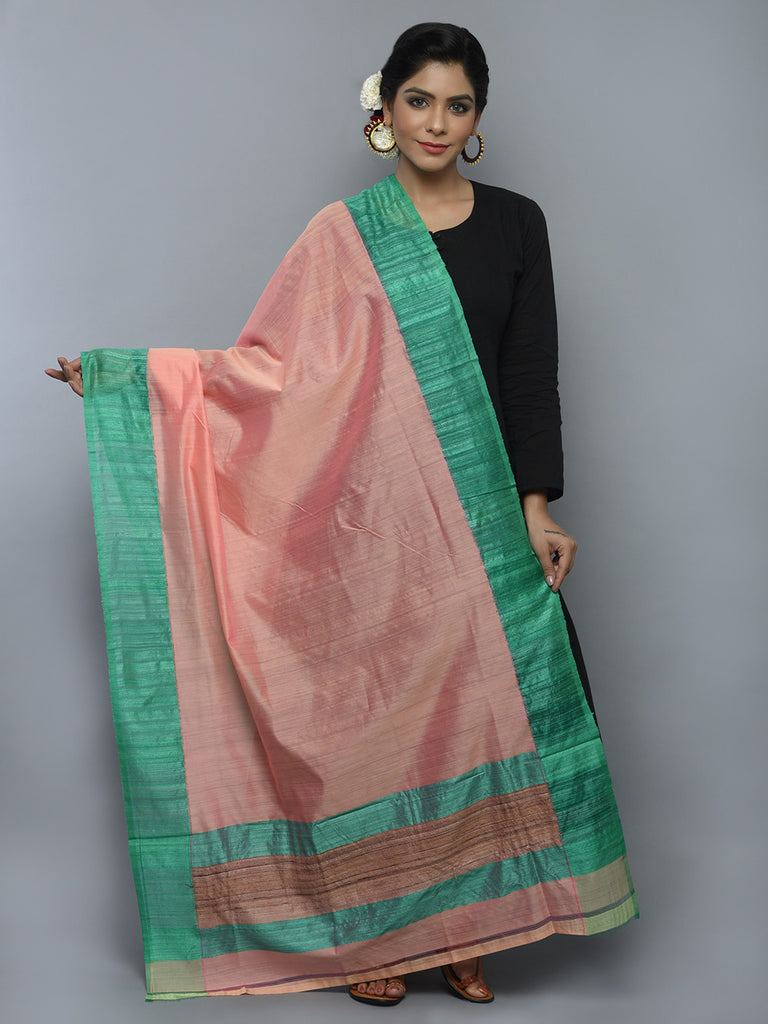 Peach Green Kora Cotton Handwoven Banarasi Dupatta