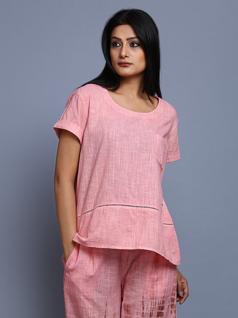 Peach Khadi Cotton Top