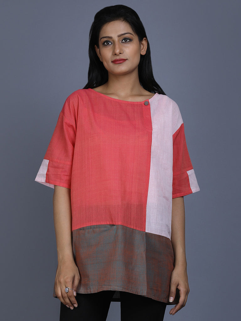 Peach Mangalgiri Cotton Top