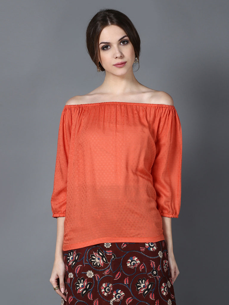 Peach Modal Off Shoulder Top