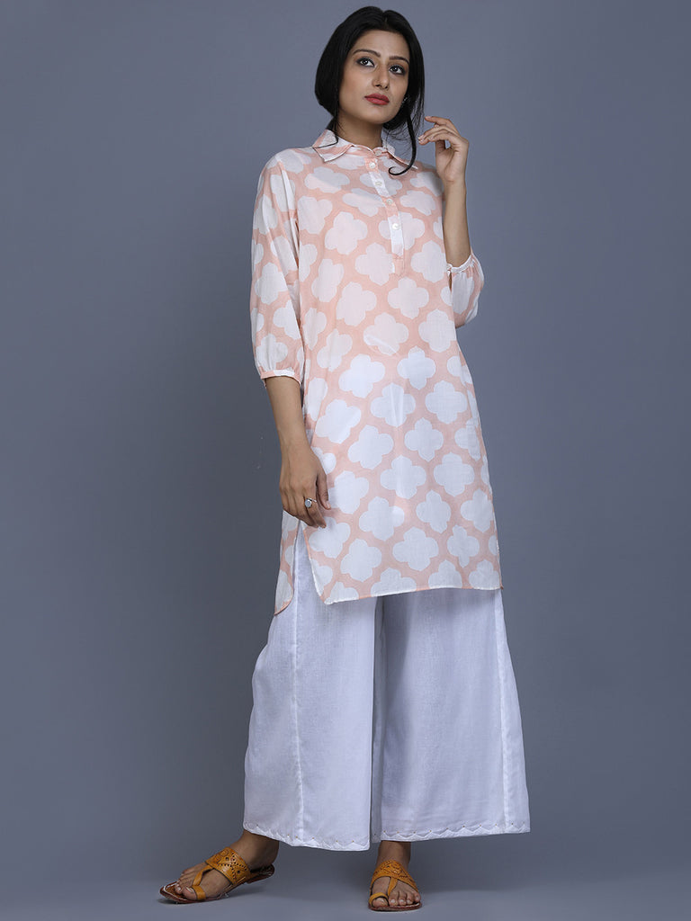 Peach Off White Cotton Printed Kurta