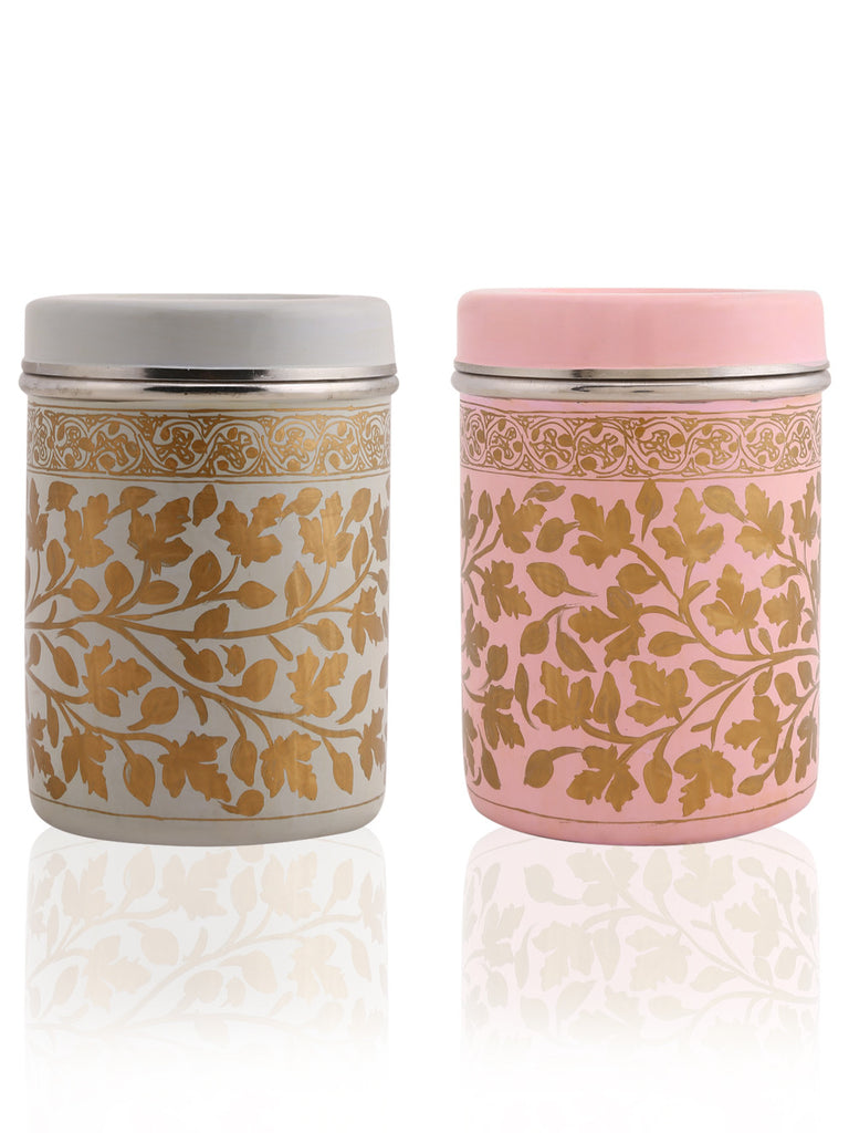 Peach Off White Golden Hand Painted Canisters - Set of 2