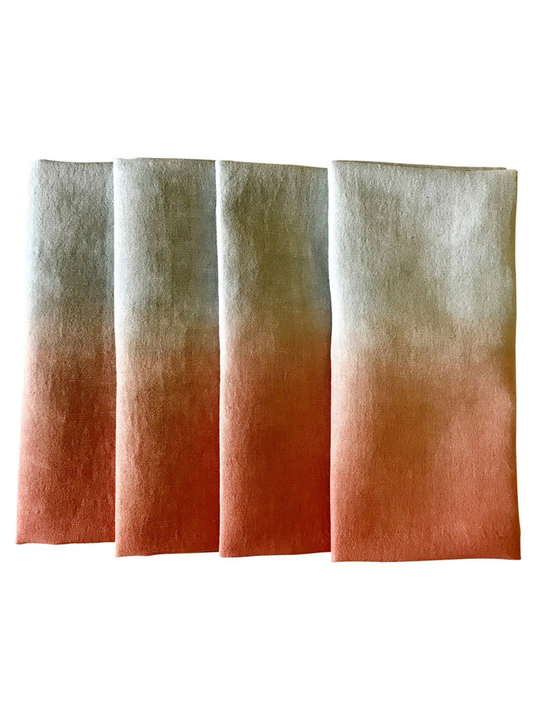 Peach Ombre Cotton Linen Tie and Dye Fabric Napkins - Set of 4