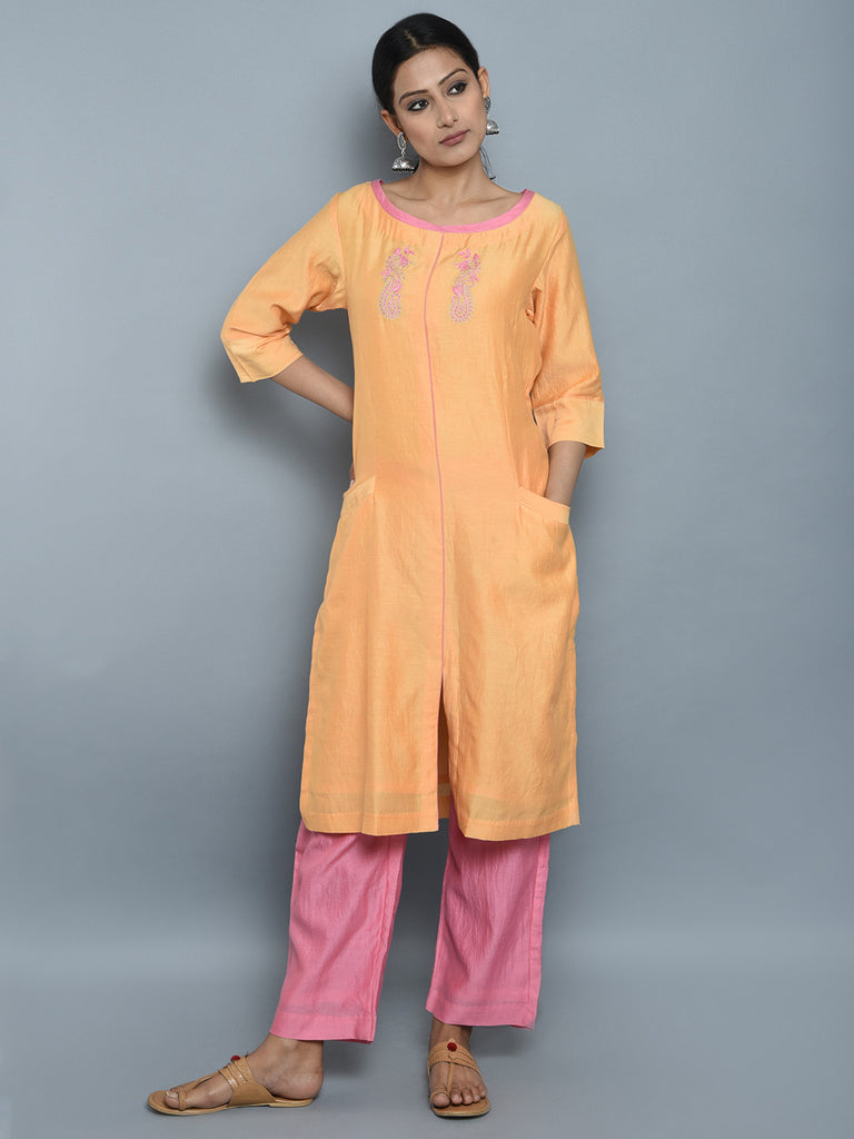 Peach Pink Chaderi Cotton Hand Embroidered Kurta