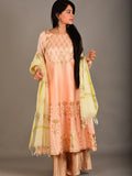 Peach Pink Chanderi Foil Handblock Printed Anarkali Suit - Set of 3