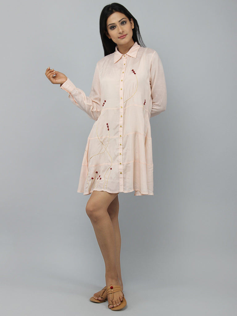 Peach Pink Cotton Silk Shirt Dress