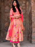 Peach Pink Silk Crepe Handblock Printed Floral Anarkali Suit - Set of 3