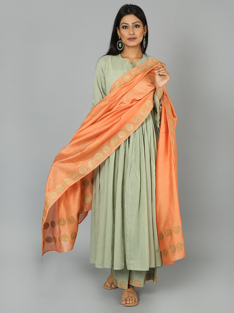 Peach Golden Polka Block Printed Chanderi Dupatta