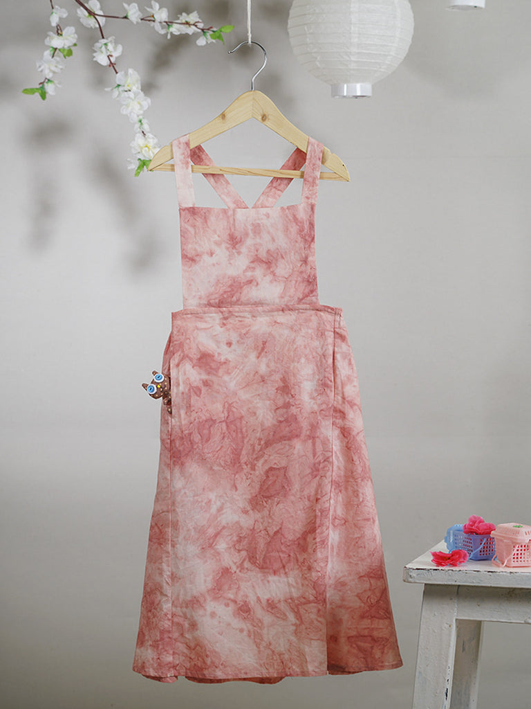 Pink Tie and Dye Cotton Maxi Dress