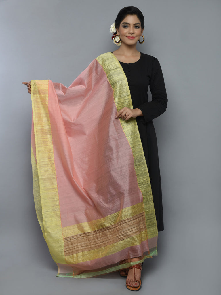 Peach Yellow Kora Cotton Handwoven Banarasi Dupatta