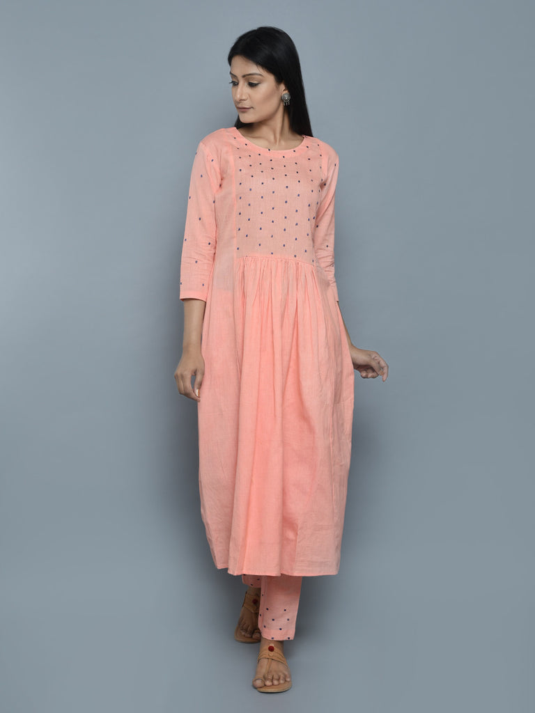 Peach Khadi Linen Hand Embroidered Kurta and Pants - Set of 2