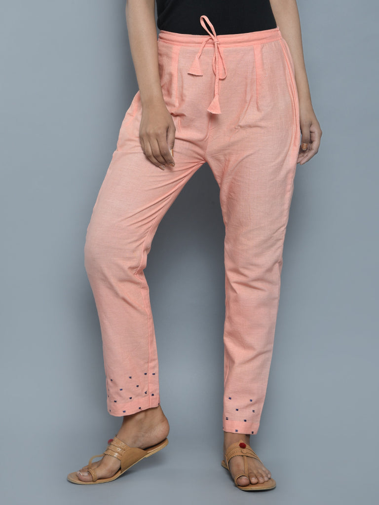 Peach Khadi Linen Hand Embroidered Pants
