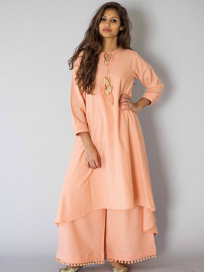 Peach Chidiya Tassel Khadi Kurta with Palazzo - Set of 2