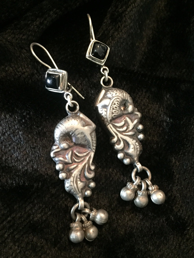 Peacock Black Onyx Silver Earrings